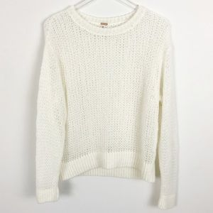 Free People Ivory Knit Crewneck Sweater Alpaca